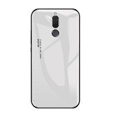 Coque Contour Silicone et Vitre Miroir Housse Etui Degrade Arc en Ciel pour Huawei Mate 10 Lite Blanc