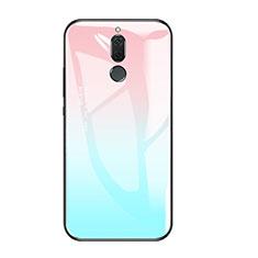 Coque Contour Silicone et Vitre Miroir Housse Etui Degrade Arc en Ciel pour Huawei Mate 10 Lite Bleu Ciel