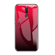 Coque Contour Silicone et Vitre Miroir Housse Etui Degrade Arc en Ciel pour Huawei Mate 10 Lite Rouge