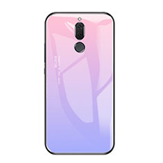 Coque Contour Silicone et Vitre Miroir Housse Etui Degrade Arc en Ciel pour Huawei Mate 10 Lite Violet