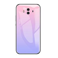 Coque Contour Silicone et Vitre Miroir Housse Etui Degrade Arc en Ciel pour Huawei Mate 10 Violet