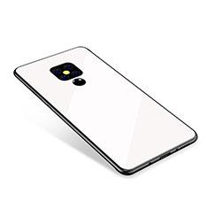 Coque Contour Silicone et Vitre Miroir Housse Etui Degrade Arc en Ciel pour Huawei Mate 20 Blanc