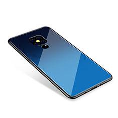 Coque Contour Silicone et Vitre Miroir Housse Etui Degrade Arc en Ciel pour Huawei Mate 20 Bleu