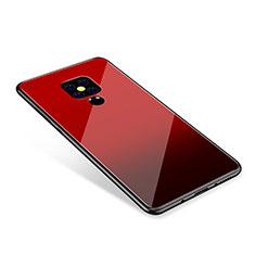 Coque Contour Silicone et Vitre Miroir Housse Etui Degrade Arc en Ciel pour Huawei Mate 20 Rouge