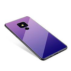 Coque Contour Silicone et Vitre Miroir Housse Etui Degrade Arc en Ciel pour Huawei Mate 20 Violet