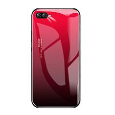 Coque Contour Silicone et Vitre Miroir Housse Etui Degrade Arc en Ciel pour Huawei Nova 2S Rouge