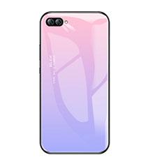 Coque Contour Silicone et Vitre Miroir Housse Etui Degrade Arc en Ciel pour Huawei Nova 2S Violet