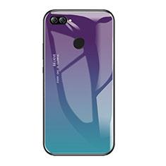 Coque Contour Silicone et Vitre Miroir Housse Etui Degrade Arc en Ciel pour Huawei P Smart Mixte