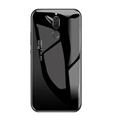 Coque Contour Silicone et Vitre Miroir Housse Etui Degrade Arc en Ciel pour Huawei Rhone Noir
