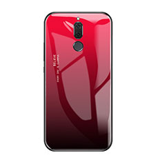Coque Contour Silicone et Vitre Miroir Housse Etui Degrade Arc en Ciel pour Huawei Rhone Rouge