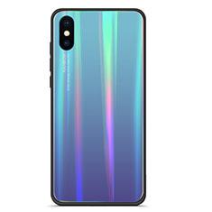 Coque Contour Silicone et Vitre Miroir Housse Etui Degrade Arc en Ciel pour Xiaomi Mi 8 Pro Global Version Bleu
