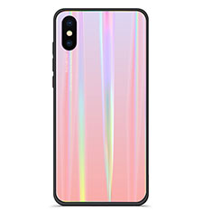 Coque Contour Silicone et Vitre Miroir Housse Etui Degrade Arc en Ciel pour Xiaomi Mi 8 Pro Global Version Rose