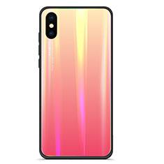 Coque Contour Silicone et Vitre Miroir Housse Etui Degrade Arc en Ciel pour Xiaomi Mi 8 Pro Global Version Rouge