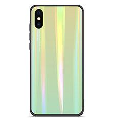 Coque Contour Silicone et Vitre Miroir Housse Etui Degrade Arc en Ciel pour Xiaomi Mi 8 Pro Global Version Vert