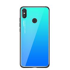 Coque Contour Silicone et Vitre Miroir Housse Etui Degrade Arc en Ciel pour Xiaomi Mi 8 SE Bleu