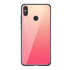 Coque Contour Silicone et Vitre Miroir Housse Etui Degrade Arc en Ciel pour Xiaomi Mi 8 SE Rose Rouge
