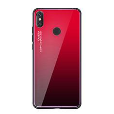 Coque Contour Silicone et Vitre Miroir Housse Etui Degrade Arc en Ciel pour Xiaomi Mi 8 SE Rouge