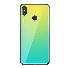 Coque Contour Silicone et Vitre Miroir Housse Etui Degrade Arc en Ciel pour Xiaomi Mi 8 SE Vert