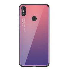 Coque Contour Silicone et Vitre Miroir Housse Etui Degrade Arc en Ciel pour Xiaomi Mi 8 SE Violet