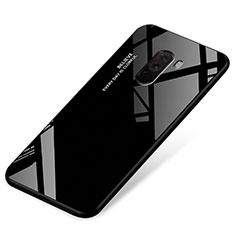 Coque Contour Silicone et Vitre Miroir Housse Etui Degrade Arc en Ciel pour Xiaomi Pocophone F1 Noir