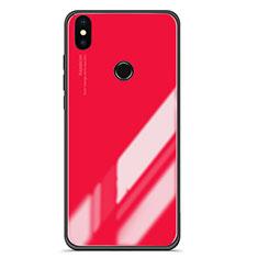 Coque Contour Silicone et Vitre Miroir Housse Etui Degrade pour Xiaomi Mi 6X Rouge