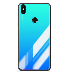 Coque Contour Silicone et Vitre Miroir Housse Etui Degrade pour Xiaomi Mi A2 Bleu Ciel