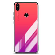 Coque Contour Silicone et Vitre Miroir Housse Etui Degrade pour Xiaomi Mi A2 Rose Rouge