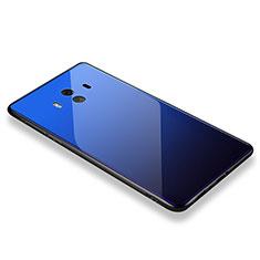 Coque Contour Silicone et Vitre Miroir Housse Etui M01 pour Huawei Mate 10 Bleu