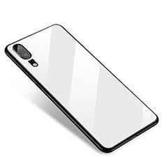 Coque Contour Silicone et Vitre Miroir Housse Etui M01 pour Huawei P20 Blanc