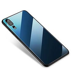Coque Contour Silicone et Vitre Miroir Housse Etui M01 pour Huawei P20 Bleu