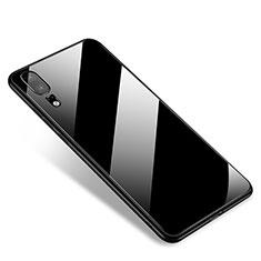 Coque Contour Silicone et Vitre Miroir Housse Etui M01 pour Huawei P20 Noir