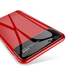 Coque Contour Silicone et Vitre Miroir Housse Etui pour Apple iPhone 6S Plus Rouge