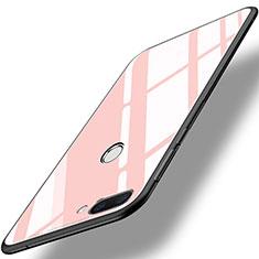 Coque Contour Silicone et Vitre Miroir Housse Etui pour Huawei Honor 9i Rose