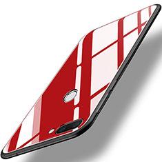 Coque Contour Silicone et Vitre Miroir Housse Etui pour Huawei Honor 9i Rouge