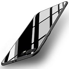 Coque Contour Silicone et Vitre Miroir Housse Etui pour Huawei P10 Plus Noir