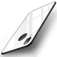 Coque Contour Silicone et Vitre Miroir Housse Etui pour Huawei P20 Lite Blanc
