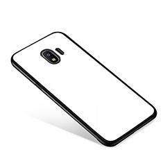 Coque Contour Silicone et Vitre Miroir Housse Etui pour Samsung Galaxy J2 Pro (2018) J250F Blanc