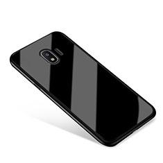Coque Contour Silicone et Vitre Miroir Housse Etui pour Samsung Galaxy J2 Pro (2018) J250F Noir