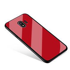 Coque Contour Silicone et Vitre Miroir Housse Etui pour Samsung Galaxy J2 Pro (2018) J250F Rouge