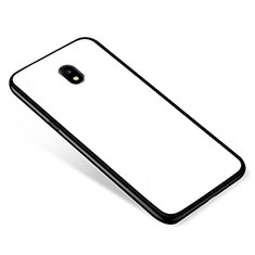Coque Contour Silicone et Vitre Miroir Housse Etui pour Samsung Galaxy J5 (2017) SM-J750F Blanc