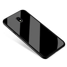 Coque Contour Silicone et Vitre Miroir Housse Etui pour Samsung Galaxy J5 (2017) SM-J750F Noir