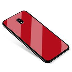 Coque Contour Silicone et Vitre Miroir Housse Etui pour Samsung Galaxy J5 (2017) SM-J750F Rouge