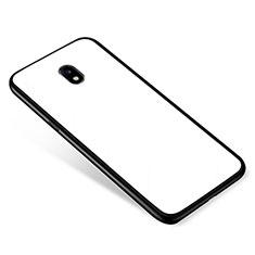 Coque Contour Silicone et Vitre Miroir Housse Etui pour Samsung Galaxy J5 Pro (2017) J530Y Blanc