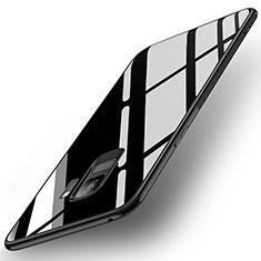 Coque Contour Silicone et Vitre Miroir Housse Etui pour Samsung Galaxy S9 Noir