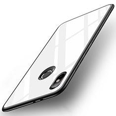 Coque Contour Silicone et Vitre Miroir Housse Etui pour Xiaomi Mi A2 Blanc