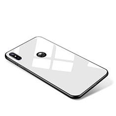 Coque Contour Silicone et Vitre Miroir Housse Etui pour Xiaomi Mi Mix 2S Blanc