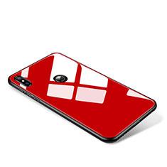 Coque Contour Silicone et Vitre Miroir Housse Etui pour Xiaomi Mi Mix 2S Rouge