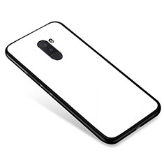 Coque Contour Silicone et Vitre Miroir Housse Etui pour Xiaomi Pocophone F1 Blanc