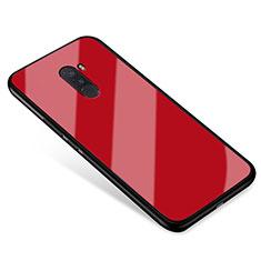 Coque Contour Silicone et Vitre Miroir Housse Etui pour Xiaomi Pocophone F1 Rouge