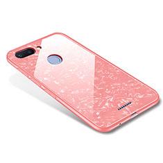 Coque Contour Silicone et Vitre Miroir Housse Etui pour Xiaomi Redmi 6 Or Rose